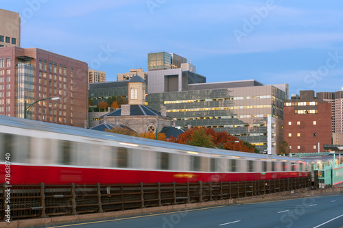 Red line subway train in motion blur in Boston - 78638740