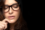 Close up Pretty Woman Face with Glasses. Cool Trendy Eyewear