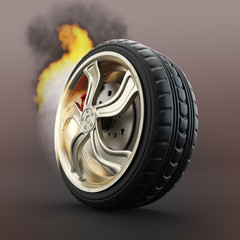 Burning car wheel