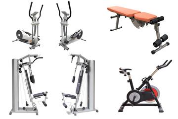 exercise machines isolated on white background