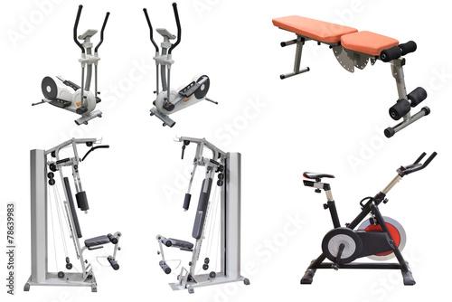 exercise machines isolated on white background - 78639983