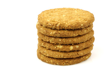 wholemeal cookies on a white background
