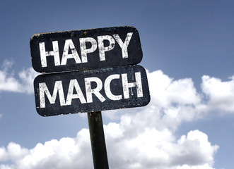 Happy March sign with sky background