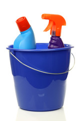blue plastic household bucket with two cleaning bottles