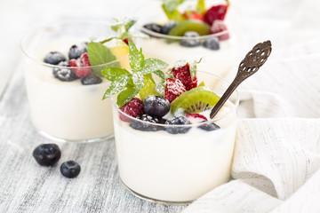 Fresh yogurt with berries.