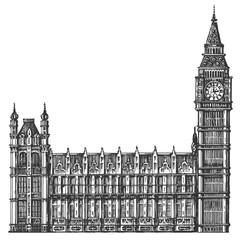 big Ben vector logo design template. London or United Kingdom