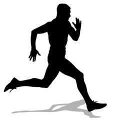 Athlete on running race, silhouettes.