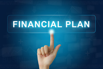 hand press on financial plan button on touch screen