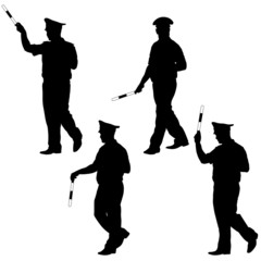 Black silhouettes of Police officer  with a rod on white backgro