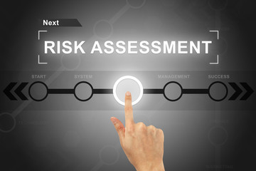 hand clicking risk assessment button on a screen interface