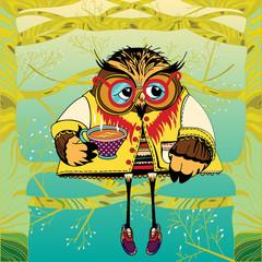 Owl on a tree drinking tea