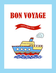 Bon Voyage journey greeting card with hand drawn steamship