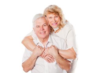 Portrait of happy senior couple portrait. Isolated on white
