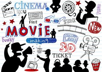 Movie-making, doodle set