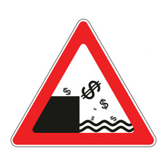 Road sign with concept of declining dollar