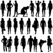 Black silhouettes of beautiful mans and womans on white backgrou - 78642199