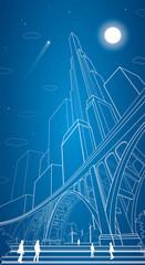 Big bridge, vector lines night city, airplane fly, vector art