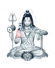 Indian Supreme God Shiva sitting in meditation