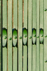 Green metal bridge handrail detail