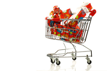 "shopping cart with colorful wrapped ""Sinterklaas""presents"
