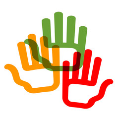 people, charity, society. colored hands on white background