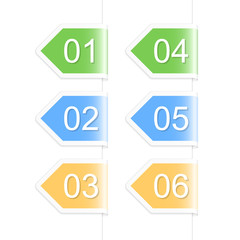 Numbered arrow labels. Vector illustration