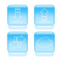 Glassy traffic icons. Vector illustration