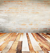 Brick wall background and concrete coat, Plank wood floor