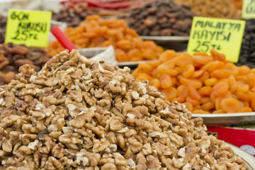 walnuts and dried fruit on market