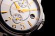 luxury white gold watch swiss made on black background - 78643727