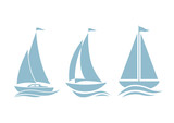 Sailboat icons on white background - 78643913