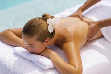 Back massage by the sea