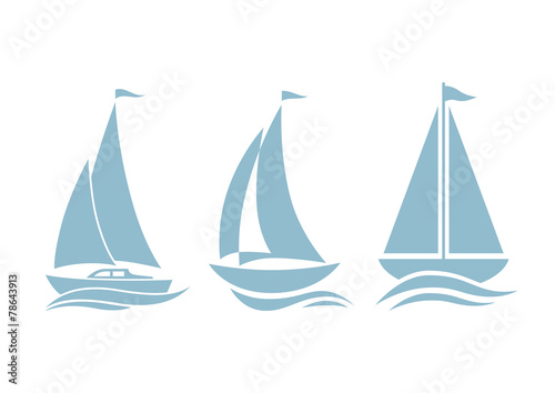 Sailboat icons on white background