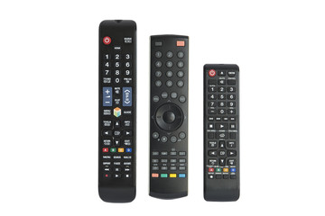 remote controls isolated on white background