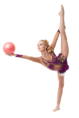 Pretty blonde gymnast dancing with ball