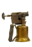 Old blowtorch on a white background poster