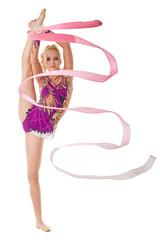 Free callisthenics. Lovely gymnast with ribbon