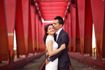 Couple celebrating wedding day