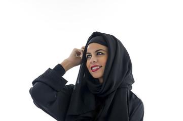 Muslim Woman wearing Hijab thinking