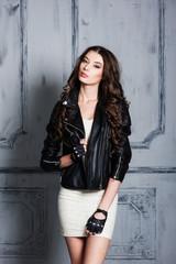 Beautiful girl portrait in rock style