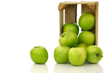 """freshly harvested """"Granny Smith"""" apples in a wooden crate"""