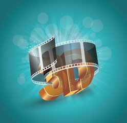 3D word in golden glass with cinema roll