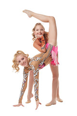 Free callisthenics. Cute gymnasts performs in pair