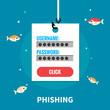 Phishing, identity theft - isolated flat vector illustration.