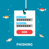 Phishing, identity theft - isolated flat vector illustration.