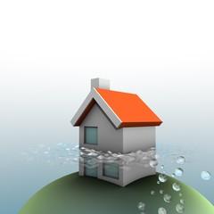 Huis fundering onder water - dak boven water
