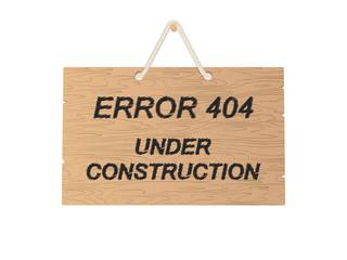 Error 404 under construction sign. Vector illustration