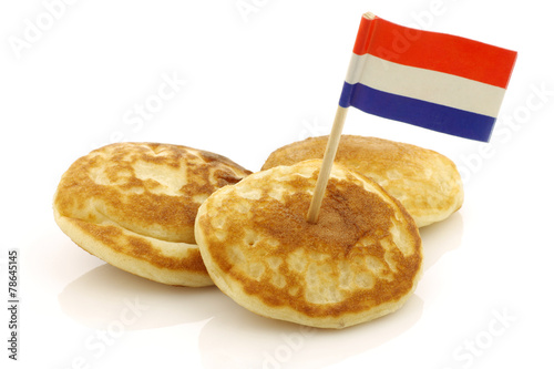 freshly baked traditional Dutch mini pancakes called
