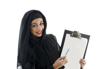 young arabic business woman showing clipboard isolated