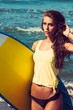 girl with surfboard